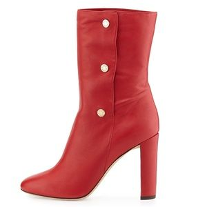 JIMMY CHOO Dayno Red Leather Mid-calf Boots